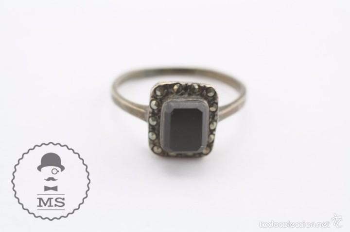 Joyeria: Anillo de Plata - Piedra Preciosa Color Negro Azabache e Incrustaciones - Diám Interior 19 Mm - Foto 4 - 57503791
