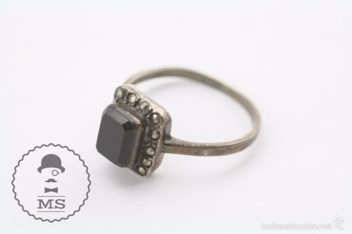Joyeria: Anillo de Plata - Piedra Preciosa Color Negro Azabache e Incrustaciones - Diám Interior 19 Mm - Foto 5 - 57503791