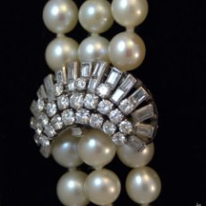 Joyeria: ANTIGUO COLLAR DE PERLAS PLATINO Y DIAMANTES IMPRESSIVE PEARL DIAMOND CRYSTAL PLATINUM NECKLACE. Lote 57904796