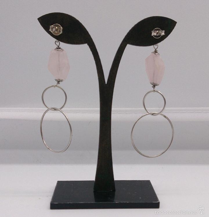 Joyeria: Originales pendientes en plata de ley con piedras de cuarzo rosa natural facetadas . - Foto 2 - 57940446