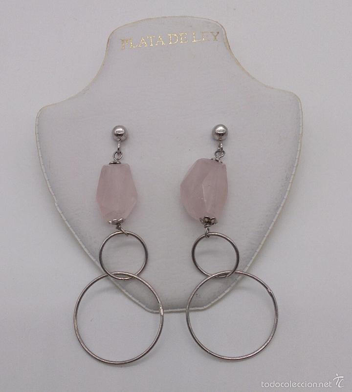 Joyeria: Originales pendientes en plata de ley con piedras de cuarzo rosa natural facetadas . - Foto 3 - 57940446