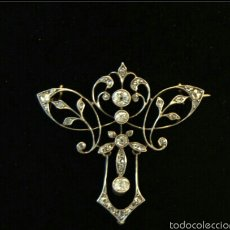 Joyeria: ANTIGUO BROCHE COLGANTE ART NOUVEAU 18K GOLD PLATINUM DIAMONDS BROOCH PENDANT. Lote 57961674