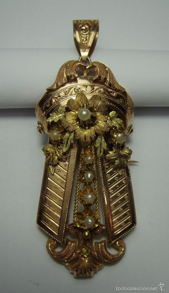 EXTRAORDINARIO BROCHE COLGANTE. S.XIX. ORO ROSA Y AMARILLO (18 KL). ESPECTACULAR TRABAJO. UN LUJO. (Joyería - Colgantes Antiguos)
