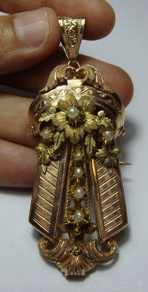 Joyeria: Extraordinario Broche Colgante. S.XIX. Oro Rosa y Amarillo (18 kl). Espectacular trabajo. Un lujo. - Foto 2 - 58064810