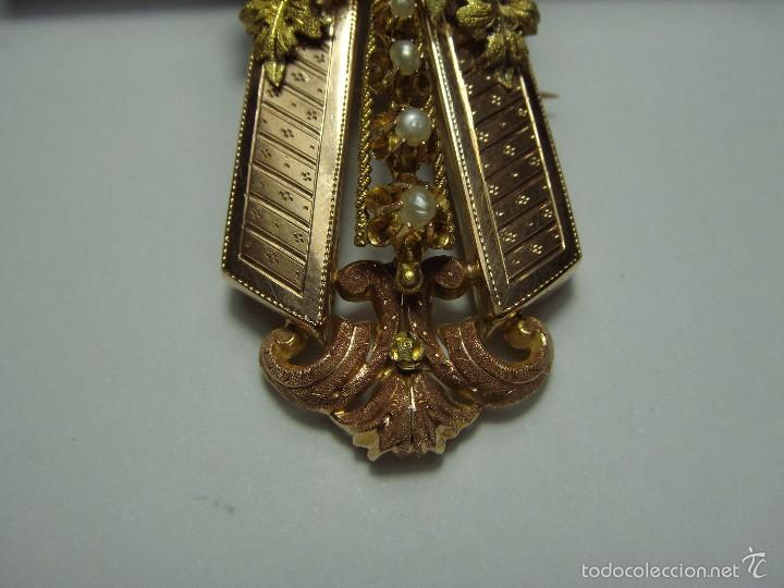Joyeria: Extraordinario Broche Colgante. S.XIX. Oro Rosa y Amarillo (18 kl). Espectacular trabajo. Un lujo. - Foto 3 - 58064810