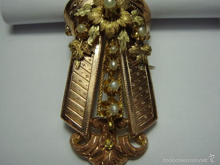 Joyeria: Extraordinario Broche Colgante. S.XIX. Oro Rosa y Amarillo (18 kl). Espectacular trabajo. Un lujo. - Foto 4 - 58064810