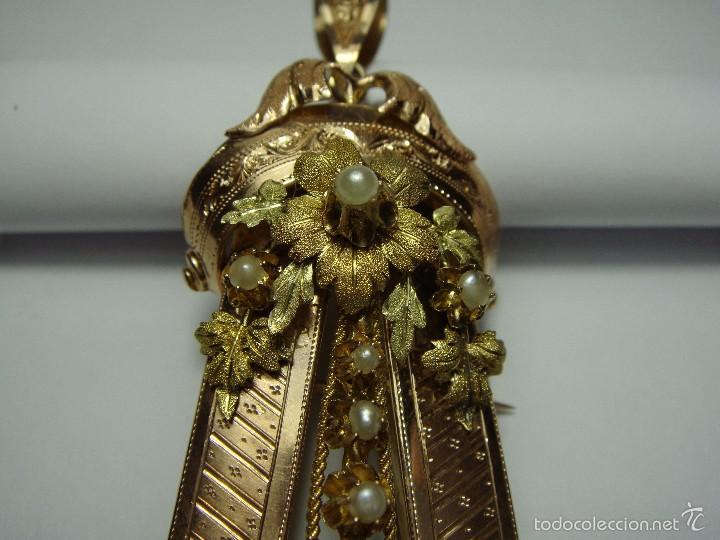 Joyeria: Extraordinario Broche Colgante. S.XIX. Oro Rosa y Amarillo (18 kl). Espectacular trabajo. Un lujo. - Foto 5 - 58064810