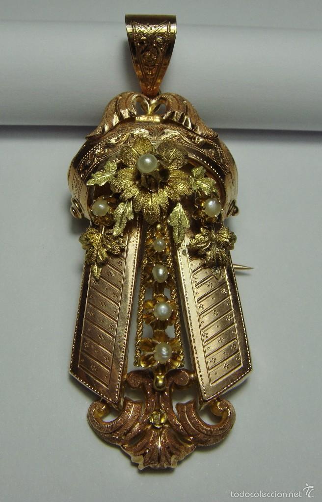 Joyeria: Extraordinario Broche Colgante. S.XIX. Oro Rosa y Amarillo (18 kl). Espectacular trabajo. Un lujo. - Foto 6 - 58064810