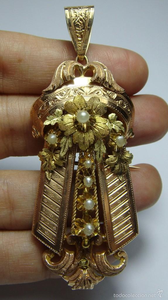 Joyeria: Extraordinario Broche Colgante. S.XIX. Oro Rosa y Amarillo (18 kl). Espectacular trabajo. Un lujo. - Foto 7 - 58064810