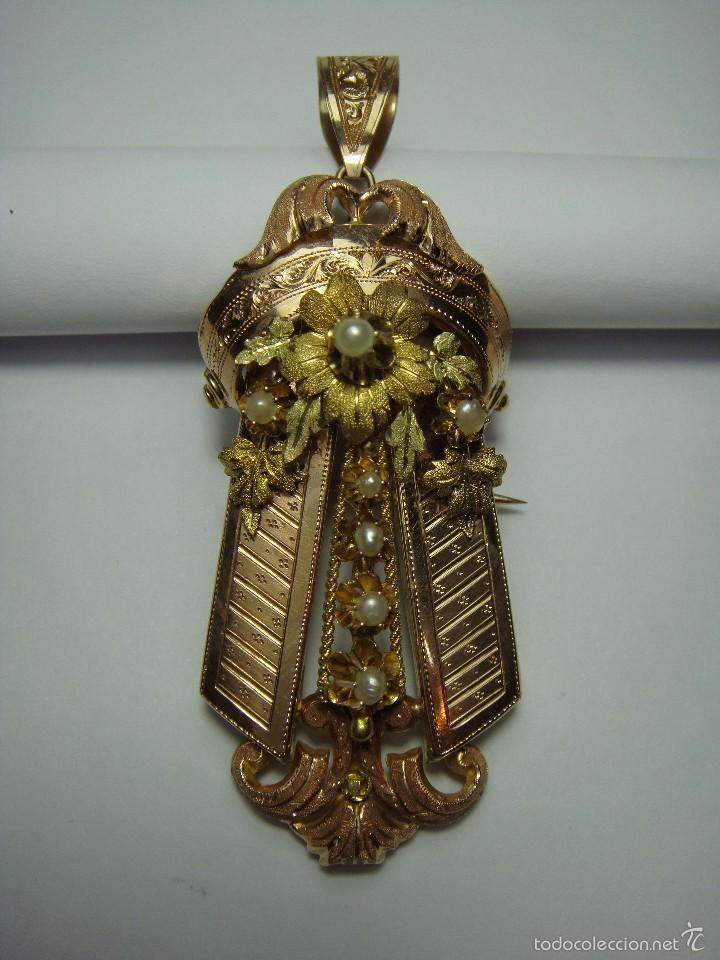 Joyeria: Extraordinario Broche Colgante. S.XIX. Oro Rosa y Amarillo (18 kl). Espectacular trabajo. Un lujo. - Foto 9 - 58064810