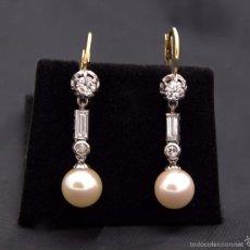 Schmuck - Pendientes con Perlas colgantes Brillantes en oro 18k Pearl Diamond Gold Earrings - 58162770