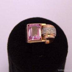 Joyeria: SORTIJA TIPO CHEVALIER ORO 18K ZAFIRO ROSA PLATINO Y PEQUEÑOS DIAMANTES SAPPHIRE PINK DIAMONDS GOLD. Lote 58625145