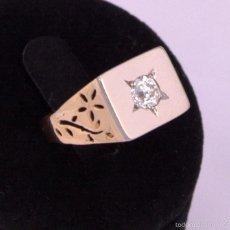 Joyeria: SORTIJA DE SELLO SOLITARIO DIAMANTE TALLA BRILLANTE PLATINO ORO 18K DIAMOND PLATINUM GOLD 18K RING . Lote 59137120