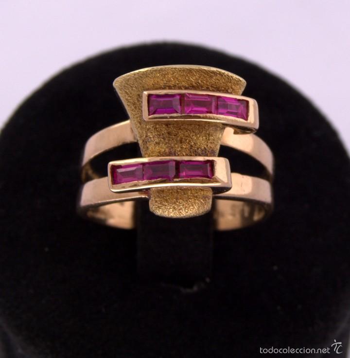 SORTIJA CHEVALIER RUBÍ MONTADA ON ORO 18K RUBY GOLD CHEVALIER RING ANTIQUE (Joyería - Anillos Antiguos)