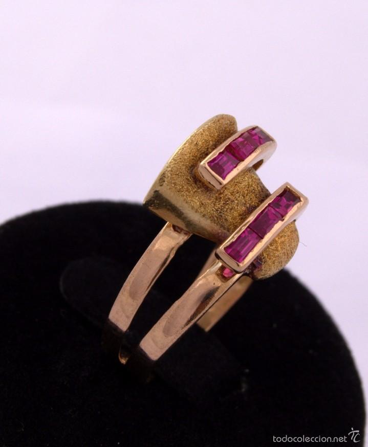 Joyeria: Sortija Chevalier Rubí montada on oro 18k Ruby Gold Chevalier Ring Antique - Foto 2 - 59903203