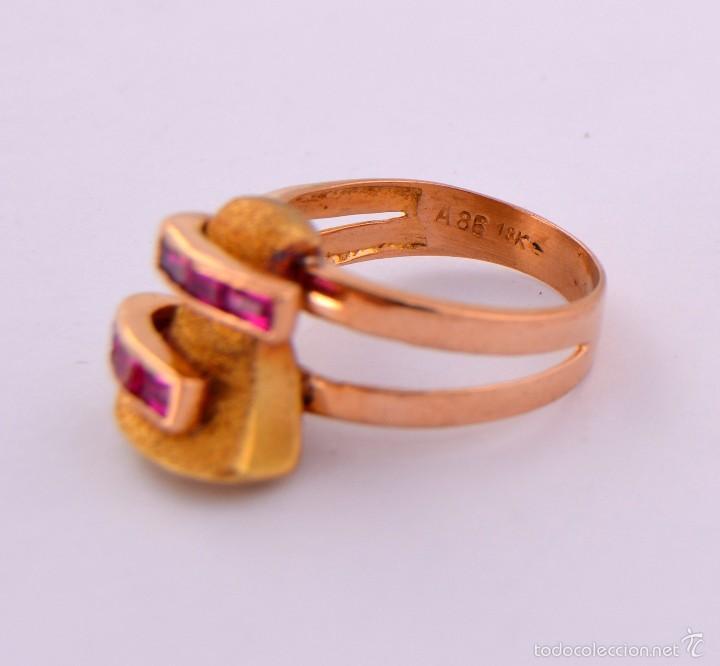 Joyeria: Sortija Chevalier Rubí montada on oro 18k Ruby Gold Chevalier Ring Antique - Foto 4 - 59903203