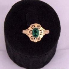 Joyeria: EMERALD DIAMOND GOLD RING SORTIJA ANTIGUA ESMERALDA PEQUEÑOS DIAMANTES MONTADA EN ORO. Lote 60059495