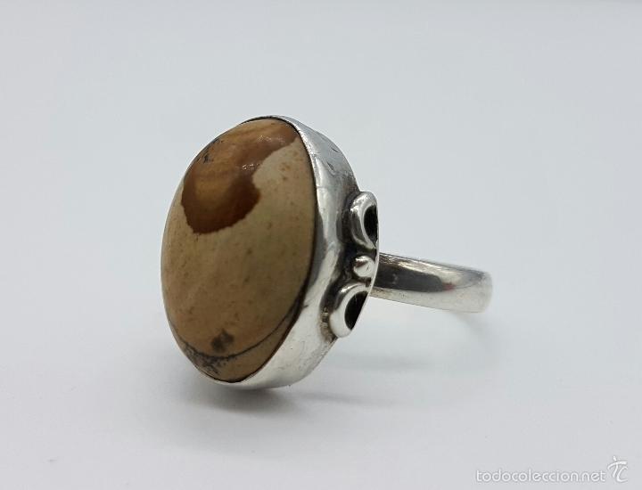 Joyeria: Anillo antiguo en plata de ley contrastada con cabujón en piedra jaspe marrón natural . - Foto 4 - 60118667