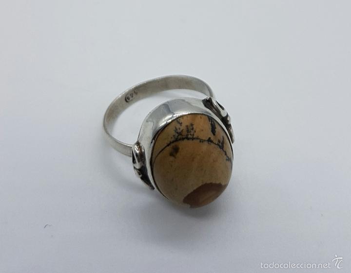 Joyeria: Anillo antiguo en plata de ley contrastada con cabujón en piedra jaspe marrón natural . - Foto 5 - 60118667