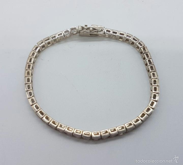 Joyeria: Magnífica pulsera en plata de ley contrastada con amatistas facetadas y engarzadas, doble cierre de - Foto 2 - 159656876