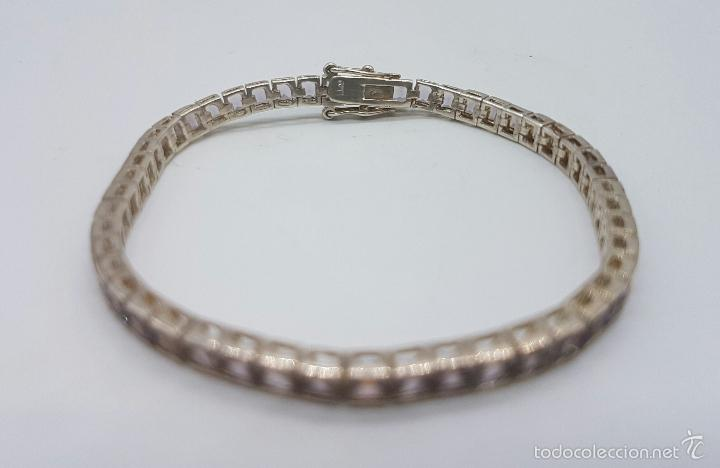 Joyeria: Magnífica pulsera en plata de ley contrastada con amatistas facetadas y engarzadas, doble cierre de - Foto 3 - 159656876