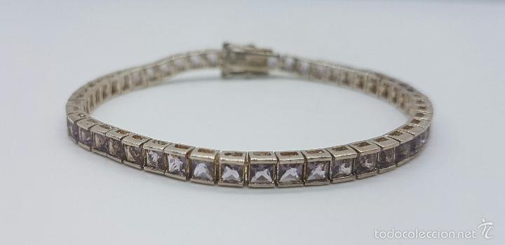 Joyeria: Magnífica pulsera en plata de ley contrastada con amatistas facetadas y engarzadas, doble cierre de - Foto 4 - 159656876