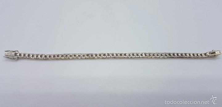 Joyeria: Magnífica pulsera en plata de ley contrastada con amatistas facetadas y engarzadas, doble cierre de - Foto 10 - 159656876