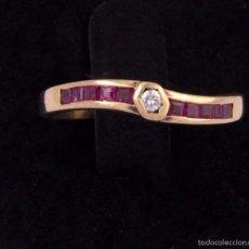 Joyeria: SORTIJA EN ORO 18K RUBI Y DIAMANTE TALLA BRILLANTE RUBY DIAMOND GOLD RING . Lote 60350523