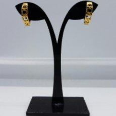 Joyeria - Pendientes vintage chapados en oro de 18k , diseño cadena . - 60456863
