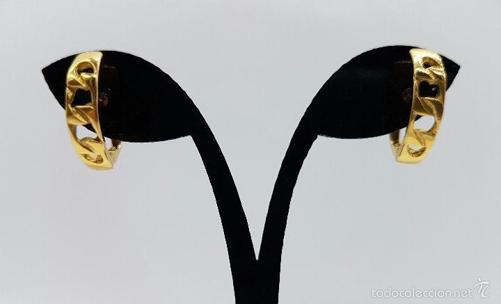 Joyeria: Pendientes vintage chapados en oro de 18k , diseño cadena . - Foto 2 - 60456863