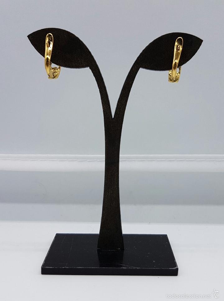 Joyeria: Pendientes vintage chapados en oro de 18k , diseño cadena . - Foto 3 - 60456863