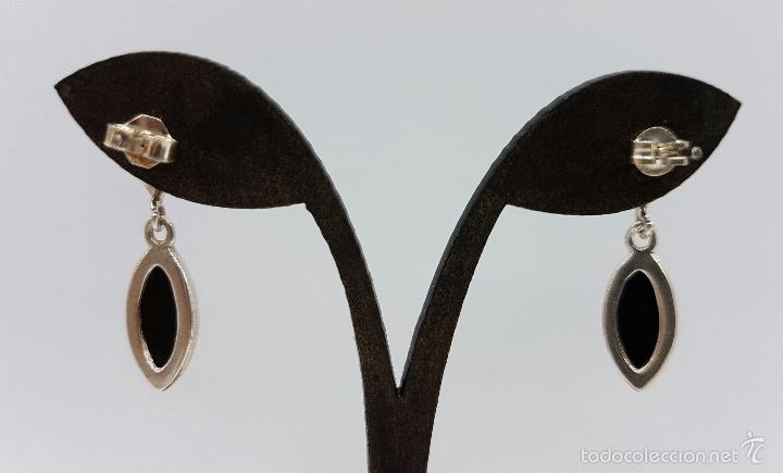 Joyeria: Pendientes antiguos en plata de ley contrastada con cabujónes ovales de piedra azabache autentica . - Foto 4 - 103879987
