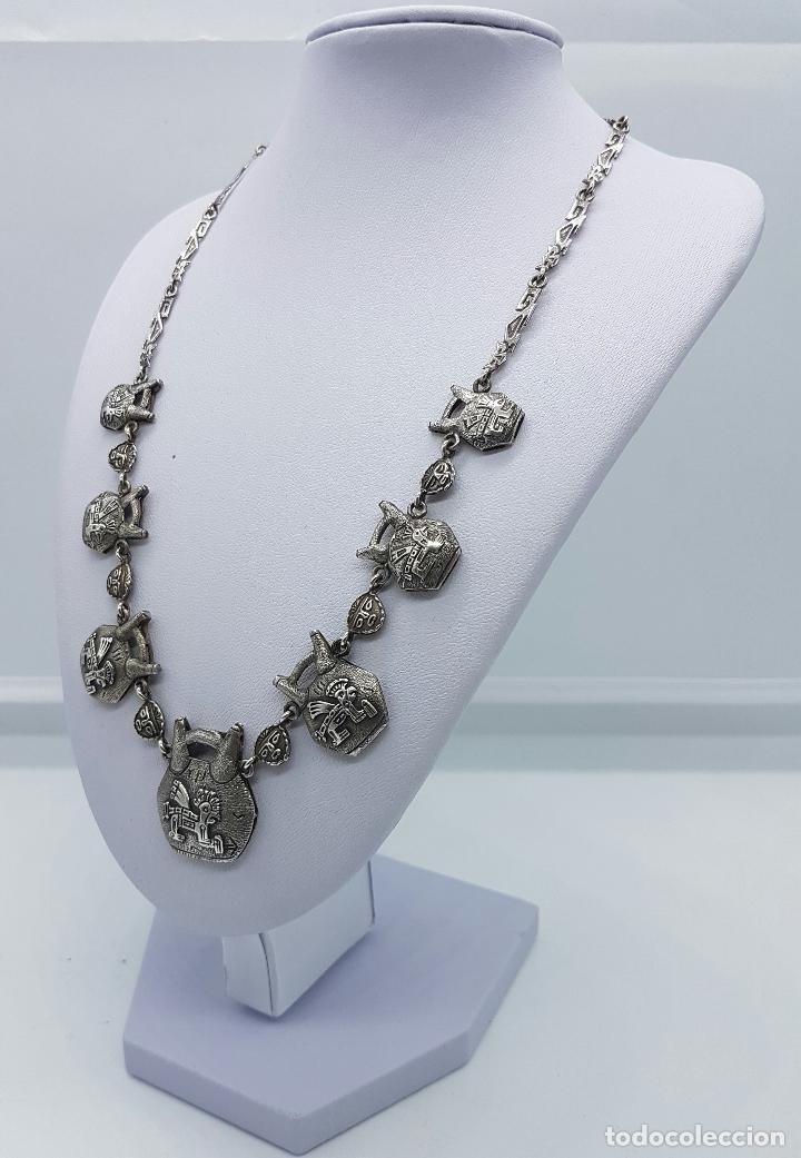 Joyeria: Gargantilla antigua de plata de ley con máscaras y seres de la mitología mexicana en relieve . - Foto 3 - 63420380
