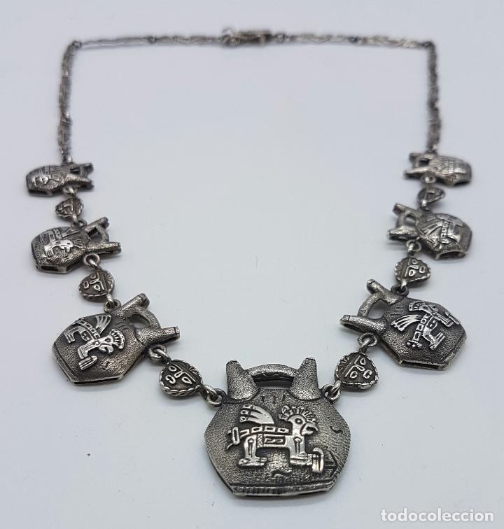 Joyeria: Gargantilla antigua de plata de ley con máscaras y seres de la mitología mexicana en relieve . - Foto 4 - 63420380
