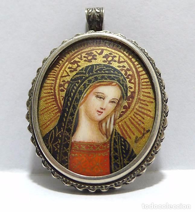 Joyeria: Colgante devocional Firmado miniatura pintura óleo y pan de oro sobre marfil montura plata-S.XIX - Foto 2 - 63974663