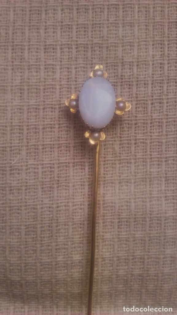 Joyeria: alfiler victoriano de corbata o foular, opalo con 4 perlas engarzado en oro de 18 k,siglo xix - Foto 2 - 65020795
