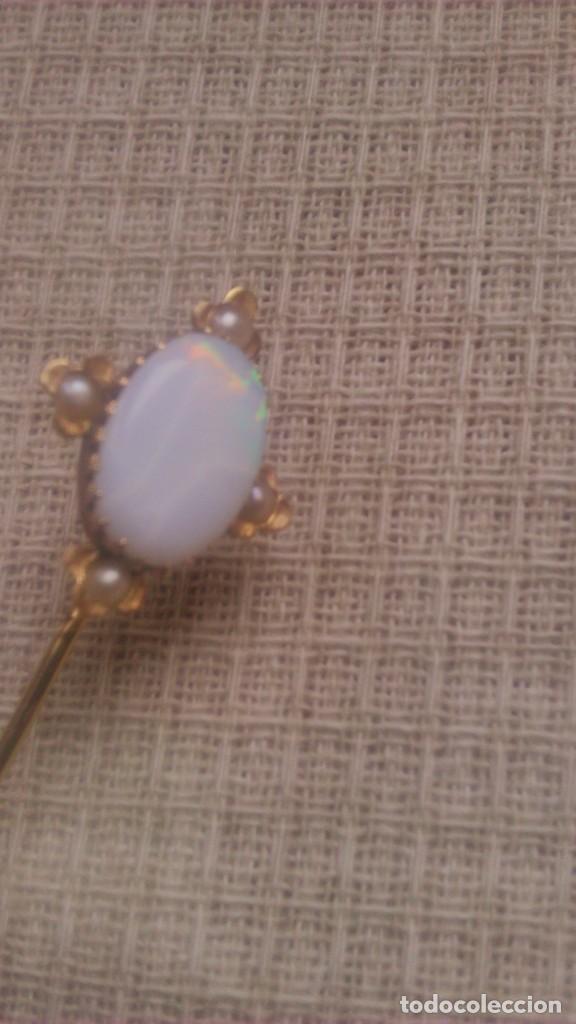Joyeria: alfiler victoriano de corbata o foular, opalo con 4 perlas engarzado en oro de 18 k,siglo xix - Foto 4 - 65020795