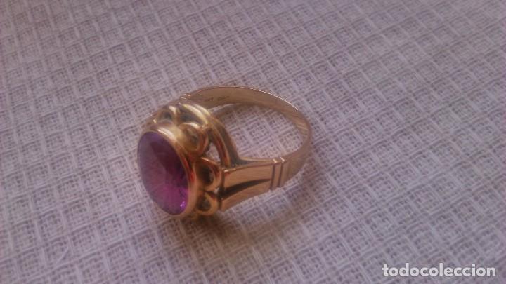 Joyeria: Antiguo anillo de oro de 18 k con topacio rosa engarzado. siglo xix - Foto 3 - 65023019