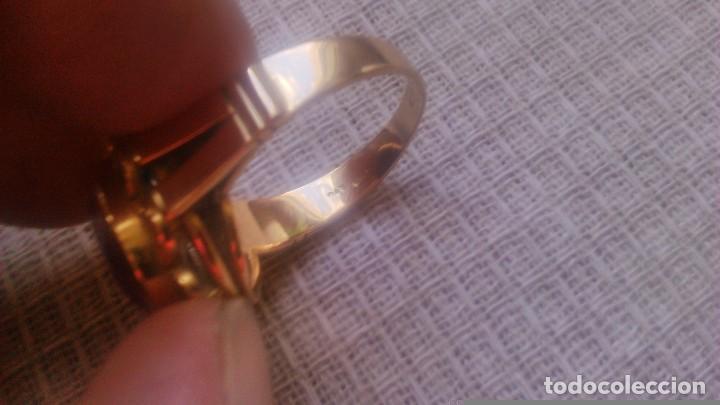 Joyeria: Antiguo anillo de oro de 18 k con topacio rosa engarzado. siglo xix - Foto 5 - 65023019