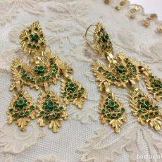 Joyeria - Pendientes de a tres, con oro y crisopas. Tipo antiguo para indumentaria tradicional - 65449182