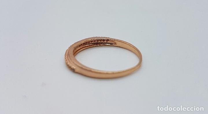 Joyeria: Elegante anillo tipo pedida en plata de ley contrastada y baño en oro de 18k con pave de circonitas - Foto 5 - 66035502