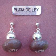 Joyeria: PENDIENTES PIEDRA NATURAL Y PLATA DE LEY. Lote 66335430