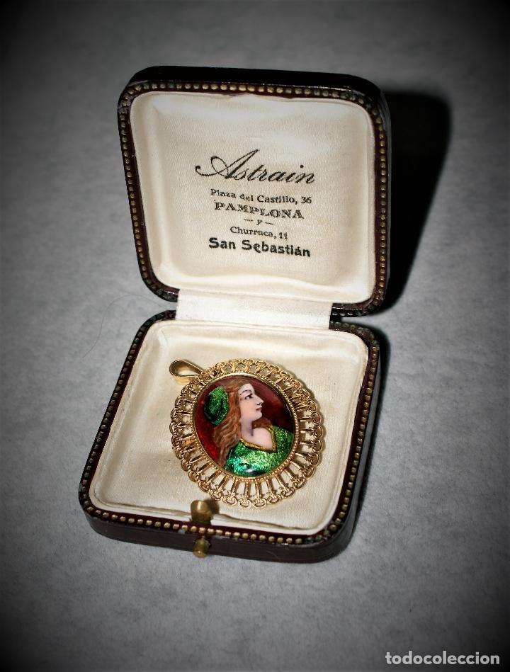 Joyeria: antiguo colgante de oro 18k esmalte - limognes - Foto 2 - 67784197