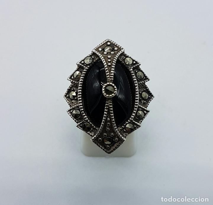 Joyeria: Impresionante anillo antiguo de estilo gotico con gran cabujón de azabache, marquestitas incrustadas - Foto 2 - 68257025