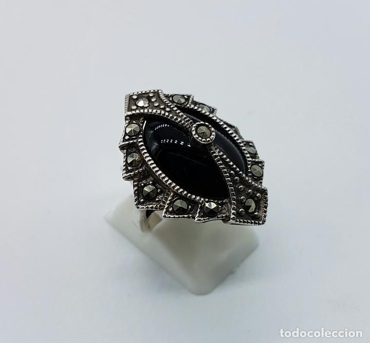 Joyeria: Impresionante anillo antiguo de estilo gotico con gran cabujón de azabache, marquestitas incrustadas - Foto 3 - 68257025