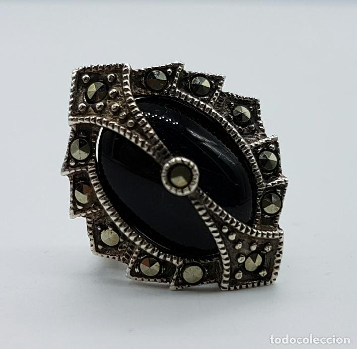 Joyeria: Impresionante anillo antiguo de estilo gotico con gran cabujón de azabache, marquestitas incrustadas - Foto 4 - 68257025