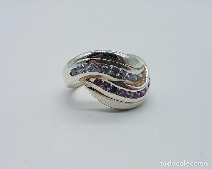 Joyeria: Bello anillo vintage en plata de ley con circonitas y amatistas talla brillante incrsutados . - Foto 3 - 68259773