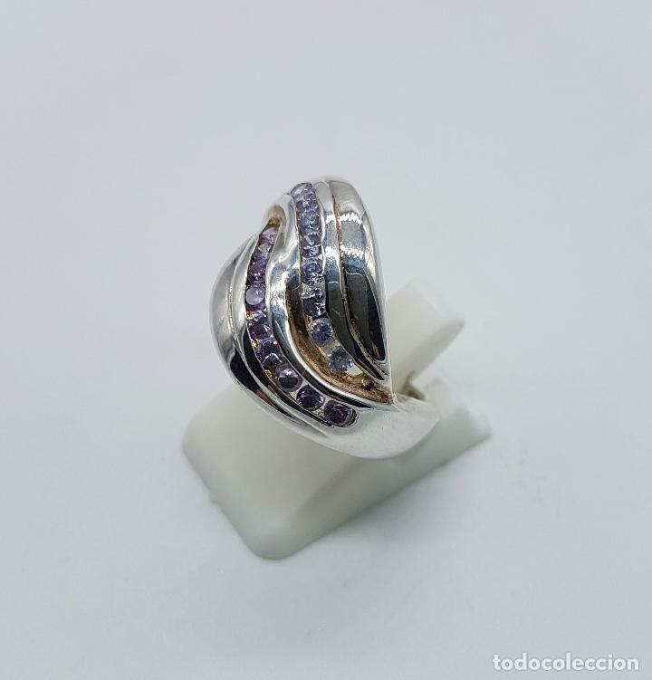 Joyeria: Bello anillo vintage en plata de ley con circonitas y amatistas talla brillante incrsutados . - Foto 4 - 68259773
