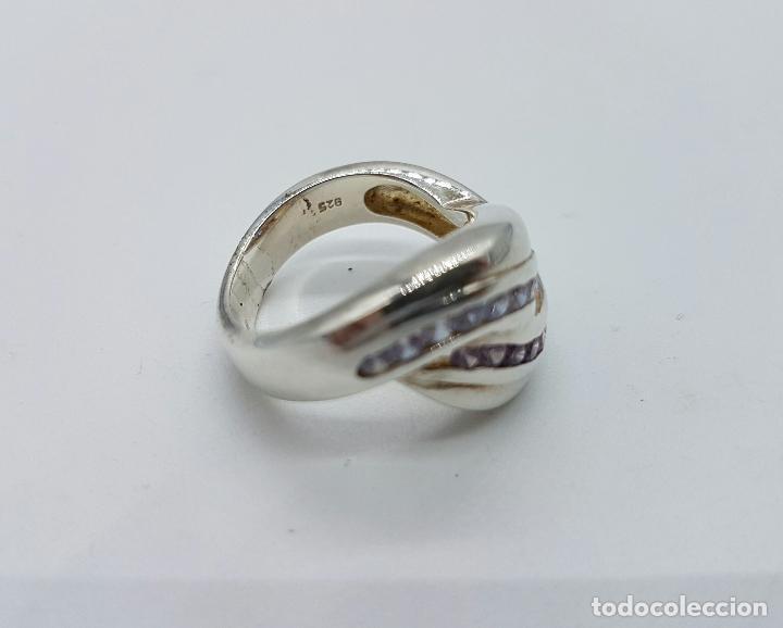 Joyeria: Bello anillo vintage en plata de ley con circonitas y amatistas talla brillante incrsutados . - Foto 5 - 68259773