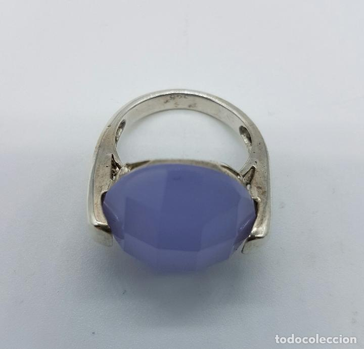 Joyeria: Magnífico anillo en plata de ley contrastada y cabujón de piedra semipreciosa malva faceteada . - Foto 5 - 68265837
